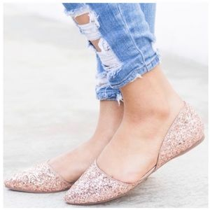 Shoes - New Arrival- Rose Gold Glitter Flats